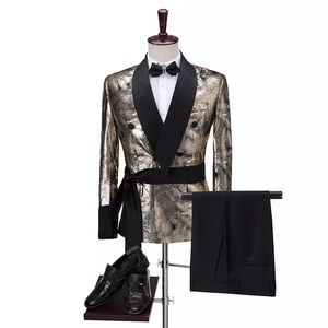Other - Men Gold Double Breasted Tuxedo + Pants